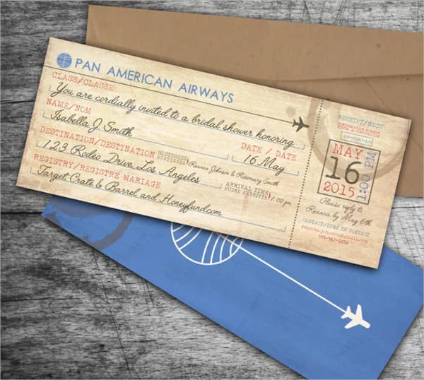 vintage airline boarding pass bridal shower invitation design example