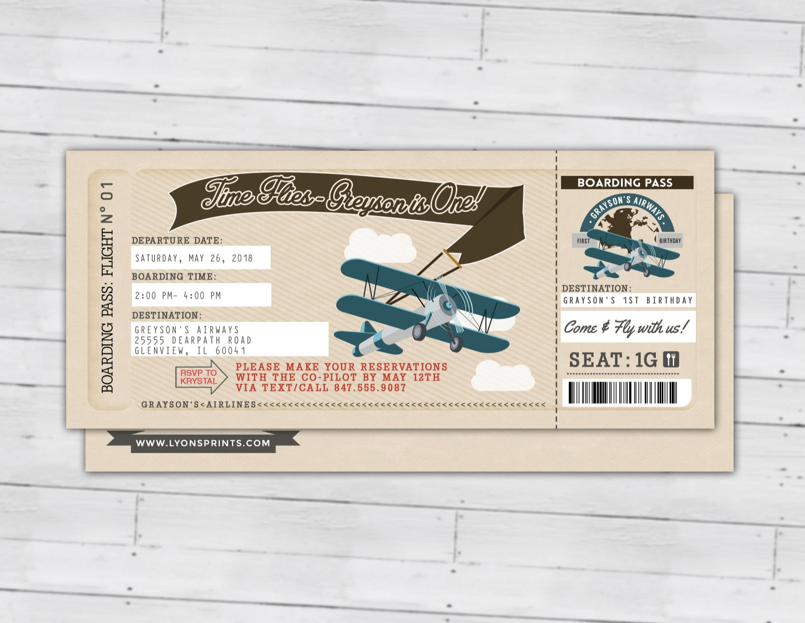 vintage airplane birthday boarding pass invitation ticket example