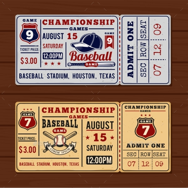 vintage baseball ticket example