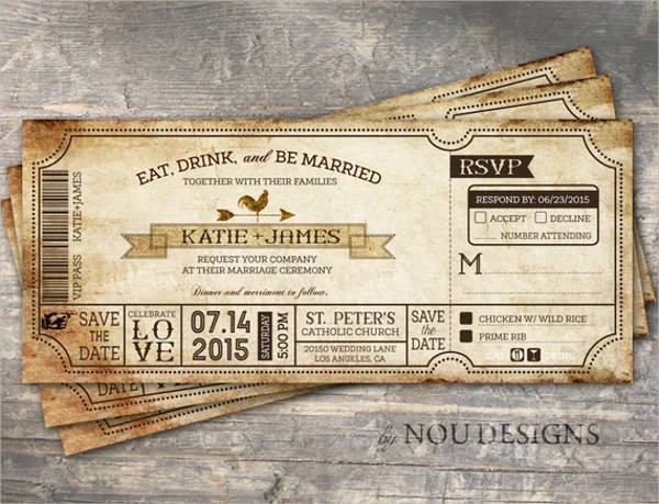 vintage boarding pass ticket country western bridal shower example