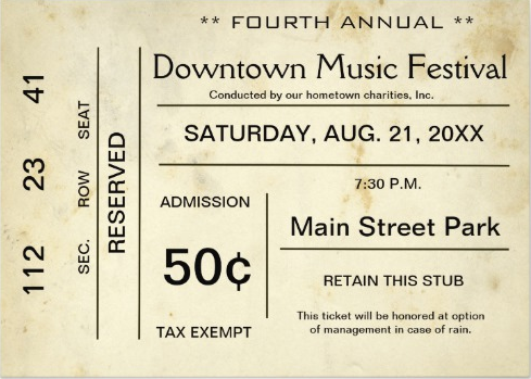 vintage entertainment even ticket invitation