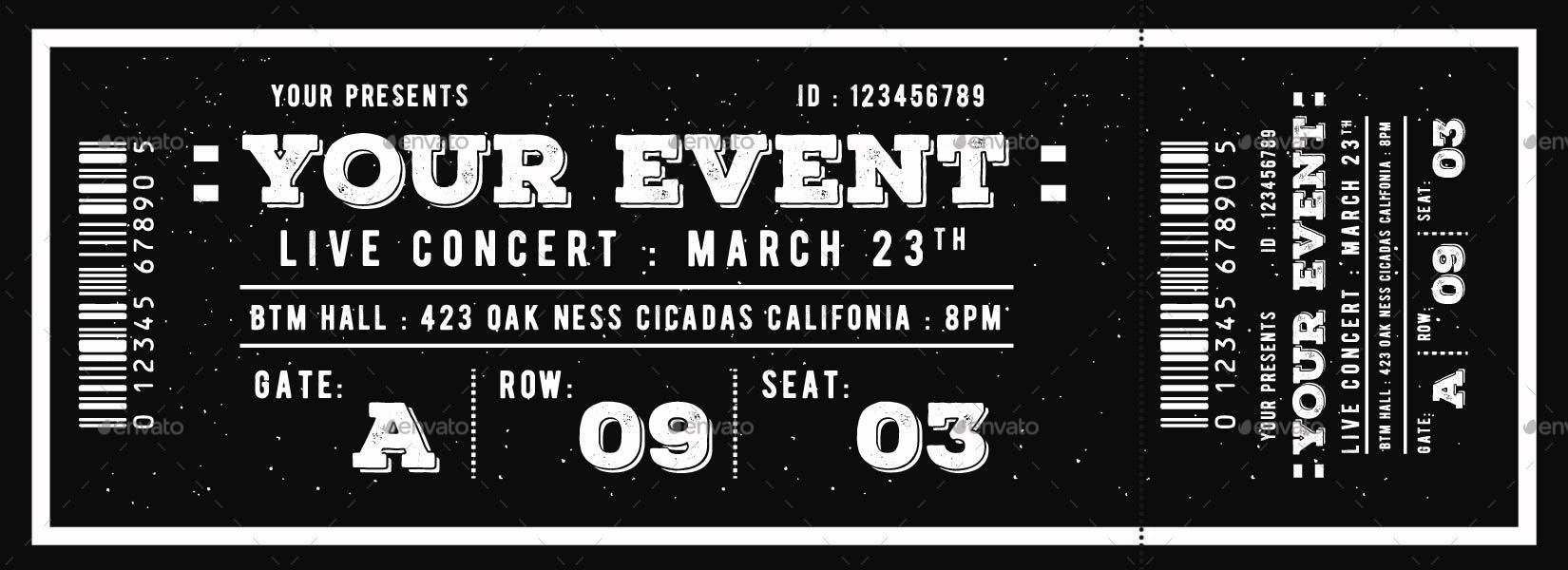 vintage event ticket example