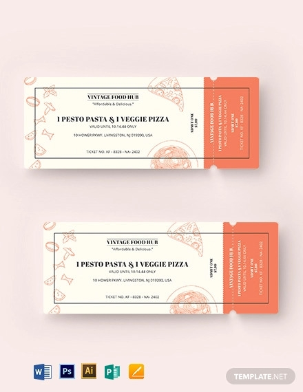 vintage food ticket template