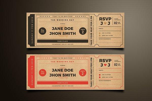 vintage movie themed wedding ticket