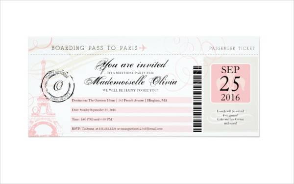 vintage paris bridal shower boarding pass invitation design example