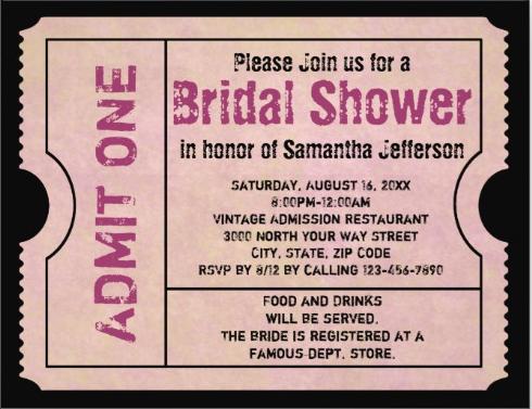 vintage pink bridal shower event ticket