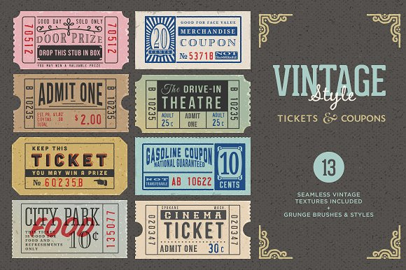 vintage tickets and coupons bundle example