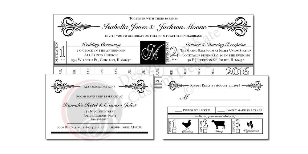 vintage train ticket wedding invitation example