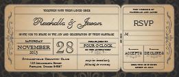vintage wedding boarding pass ticket invitation