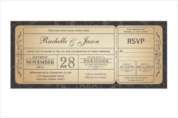 vintage wedding boarding pass ticket invitation1
