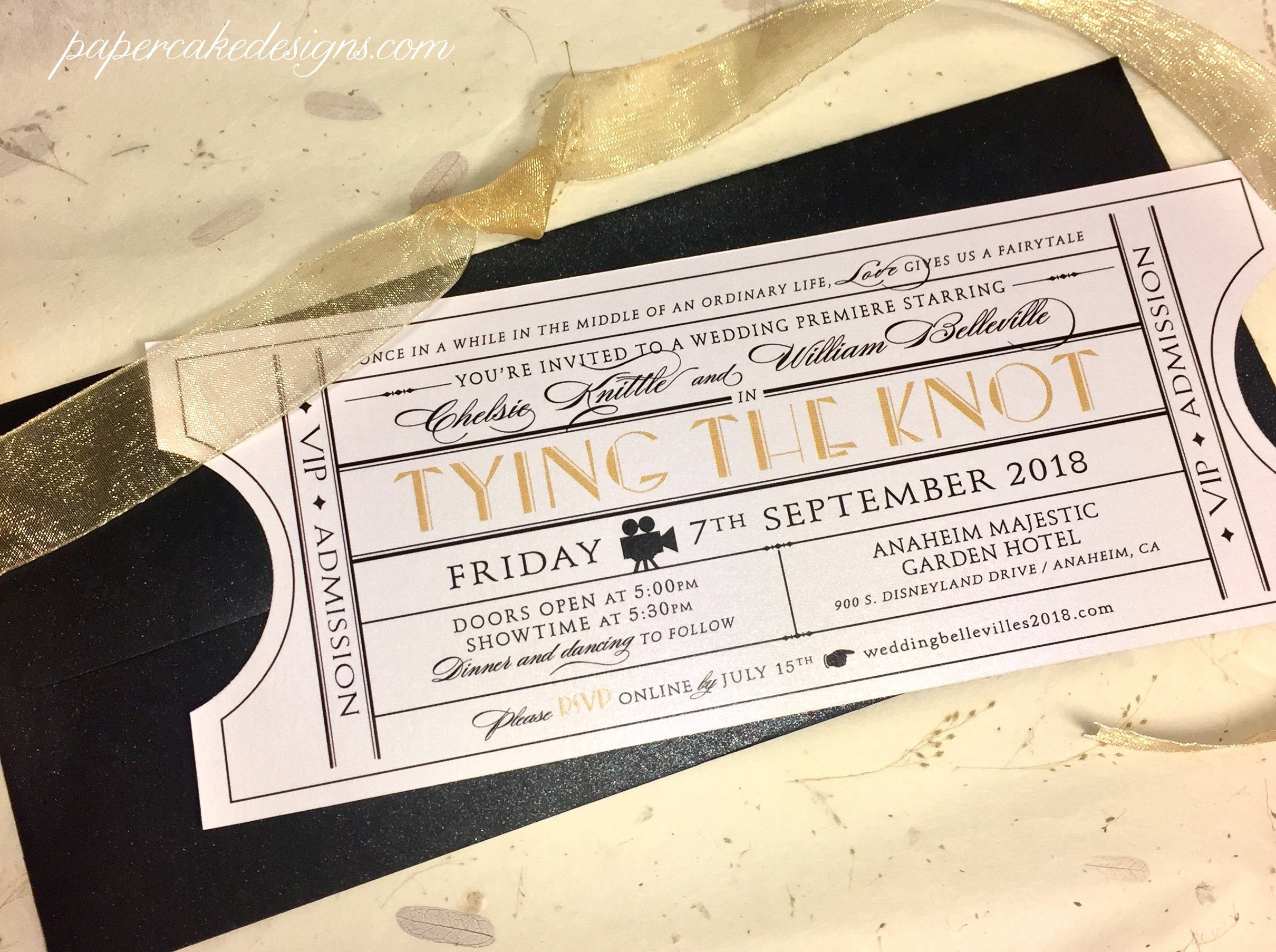 vintage wedding invitation ticket example