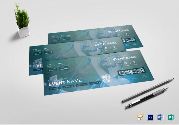 watercolor event ticket template