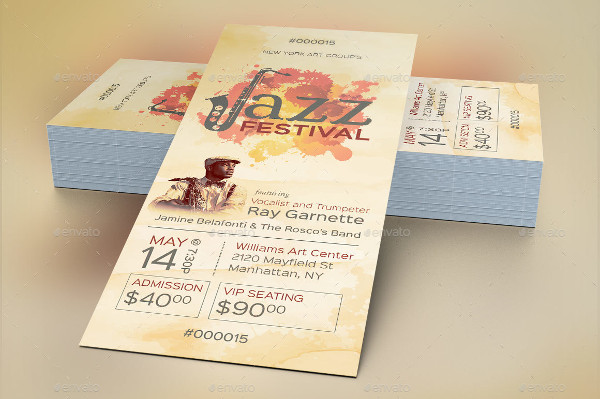 watercolor jazz event ticket template example