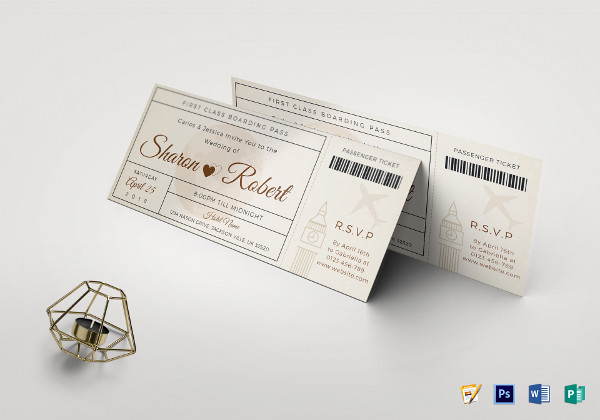 wedding boarding pass invitation ticket template