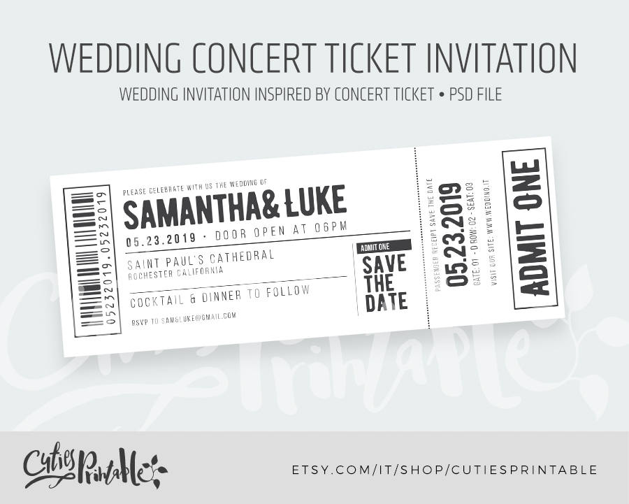 wedding concert ticket invitation example