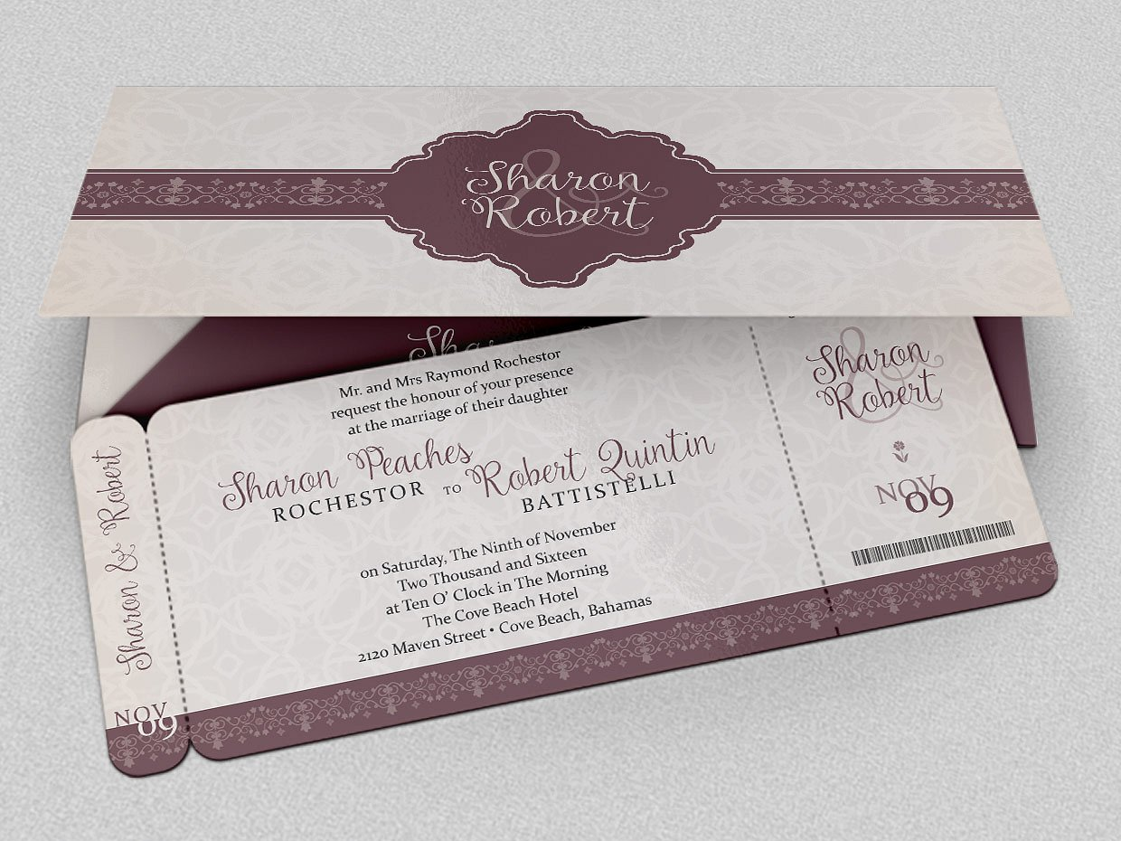 wedding cruise boarding pass ticket example