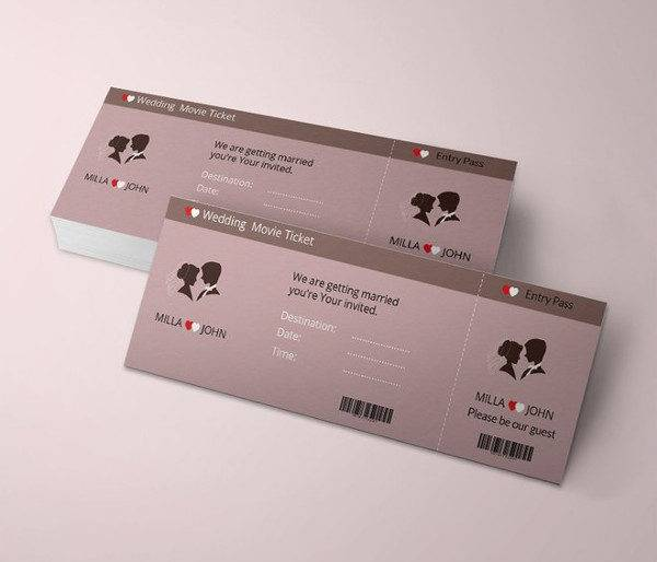 wedding invitation movie ticket template 600