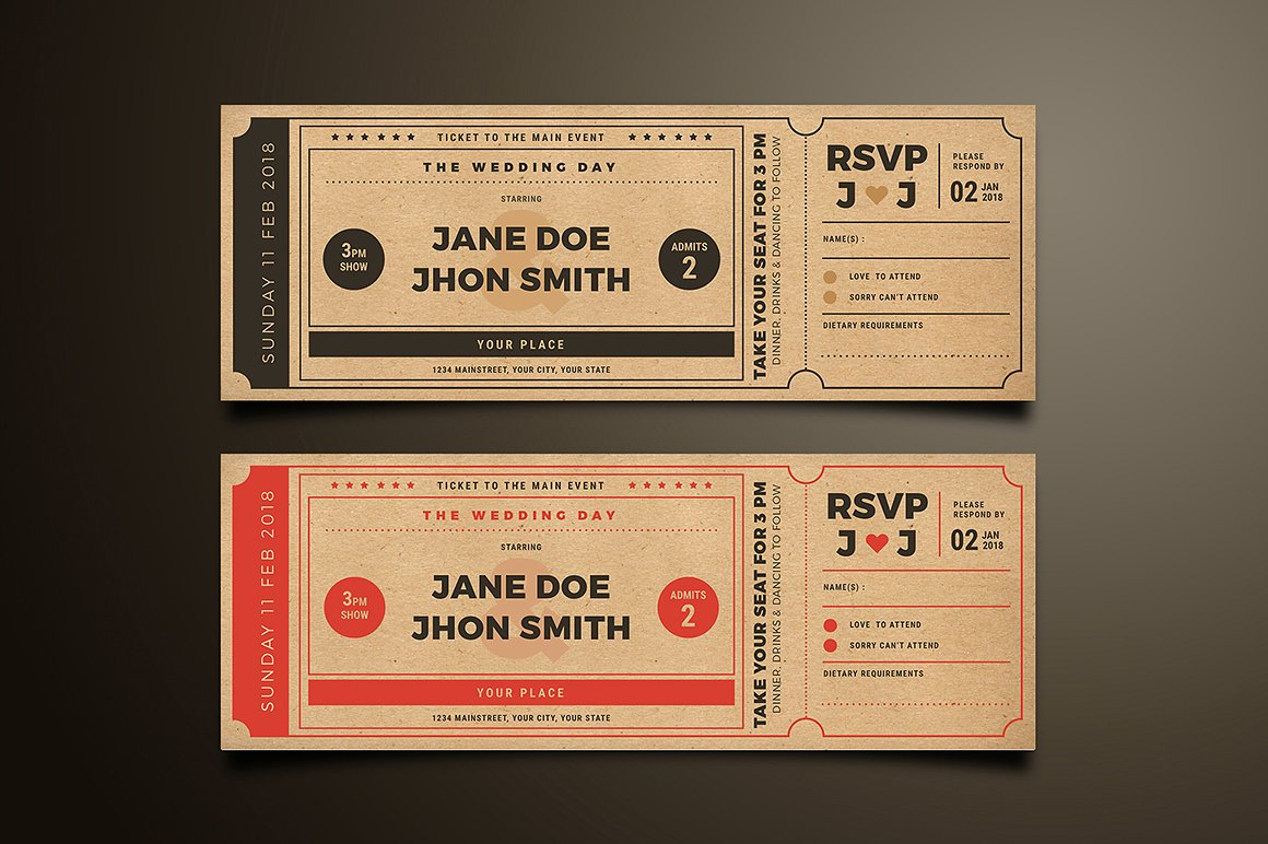 wedding movie ticket invitation example