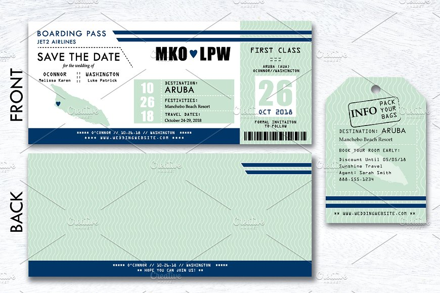 wedding plane boarding pass ticket example