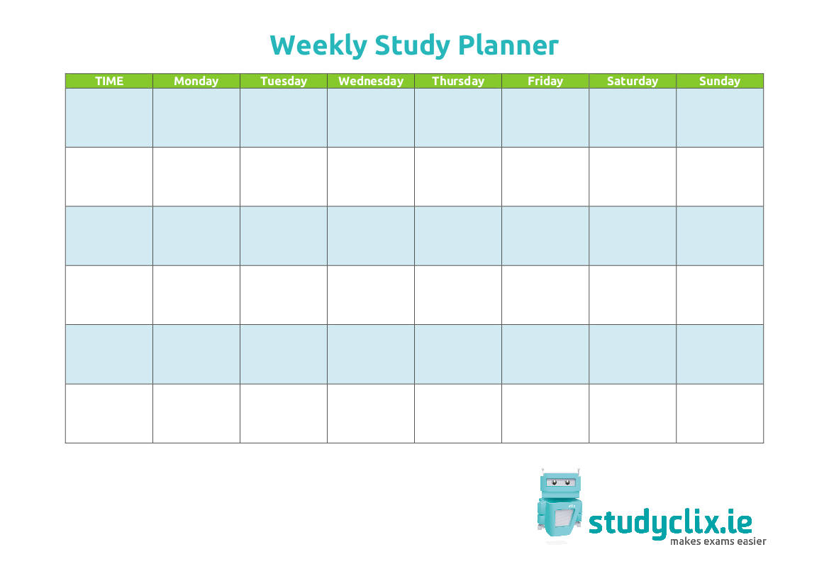 weekly study planner template example