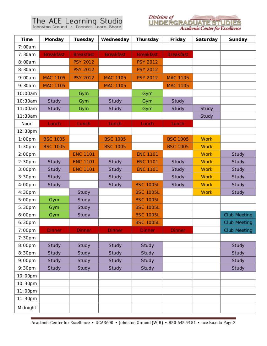 weekly study schedule example