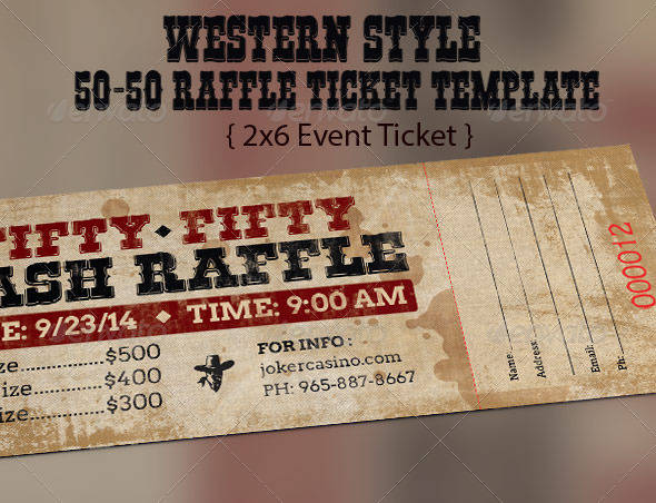 western style raffle ticket template example