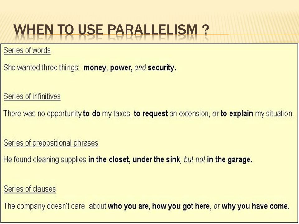 when to use parallelism with examples