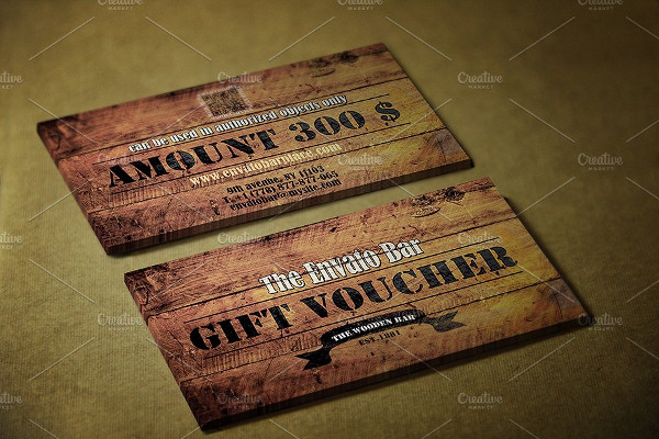 wooden style vintage gift voucher example