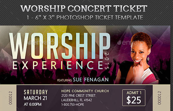 workship live concert ticket example
