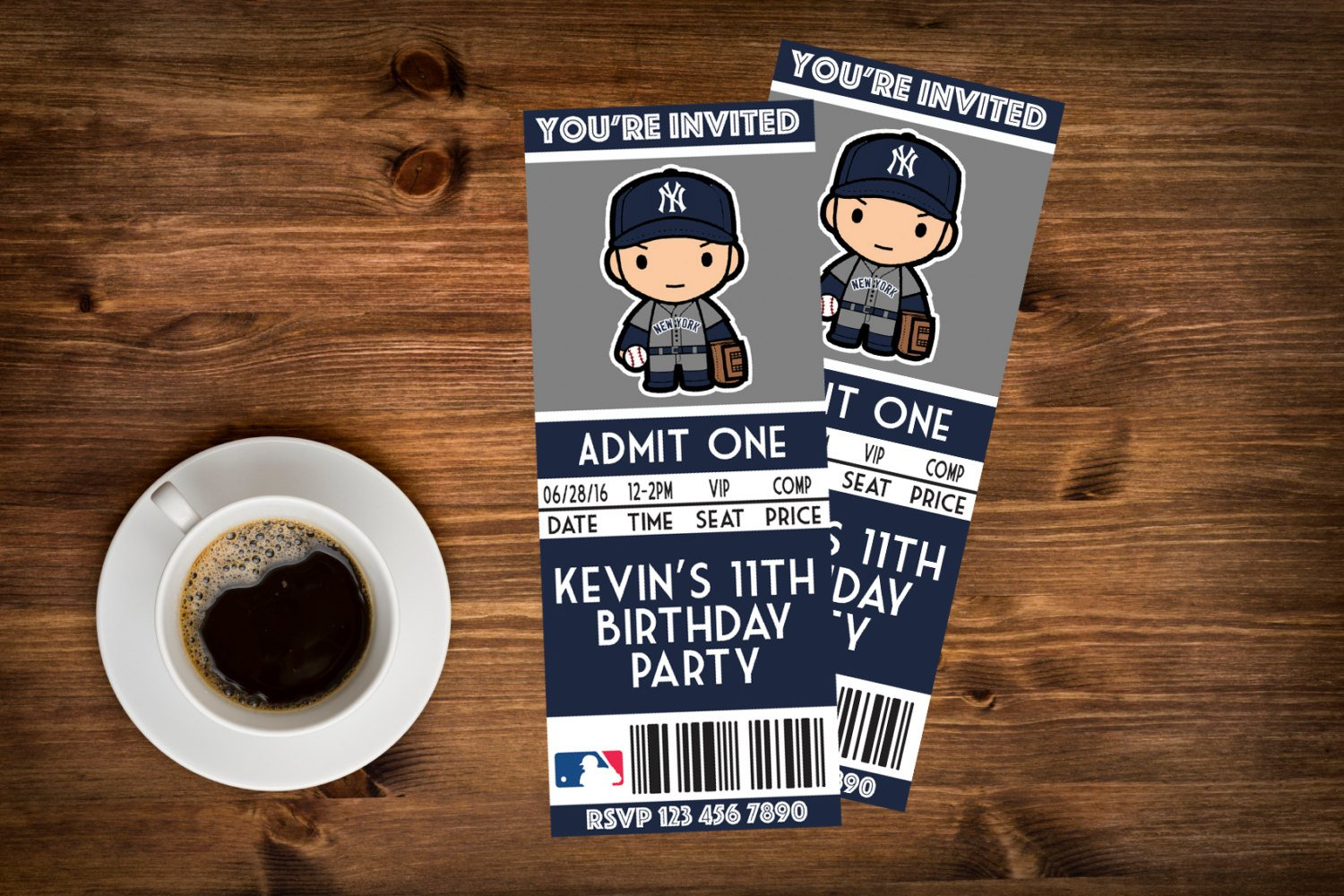 yankees birthday invitation ticket example