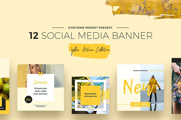 yellow autumn social media banner design example