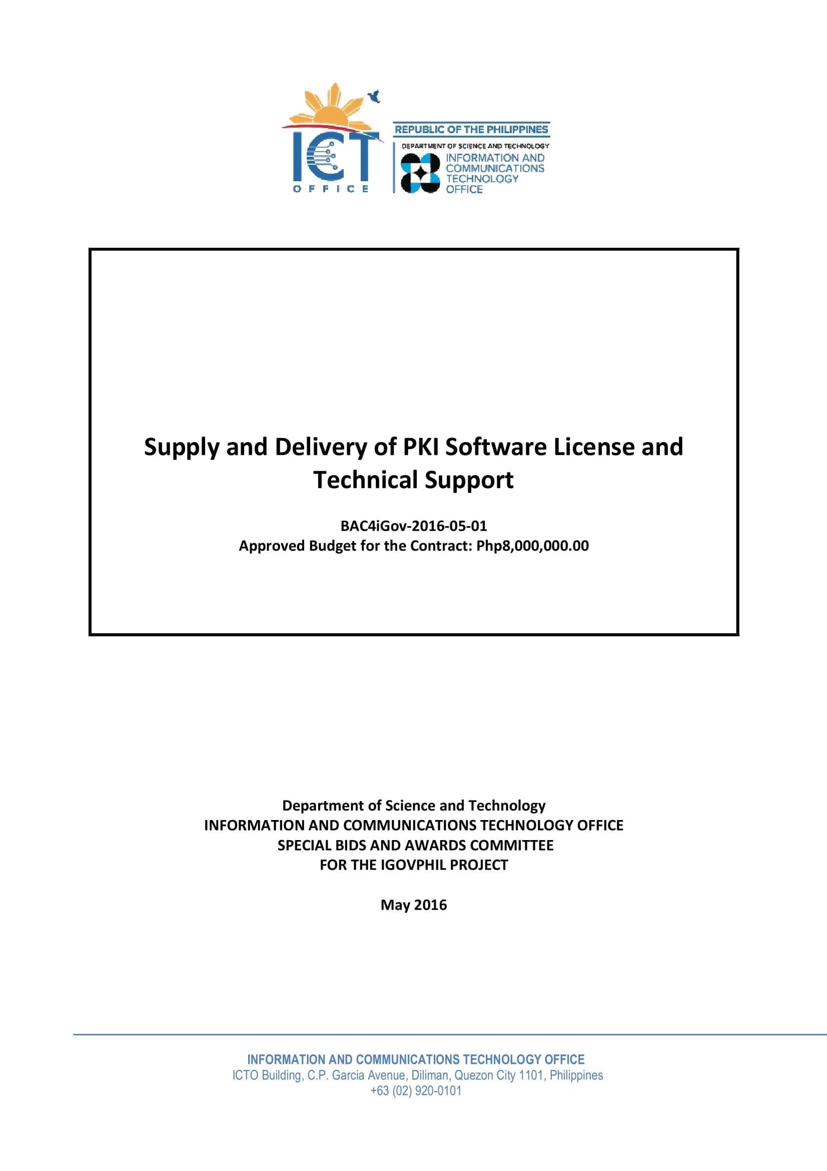 bidding documents pki software tech support