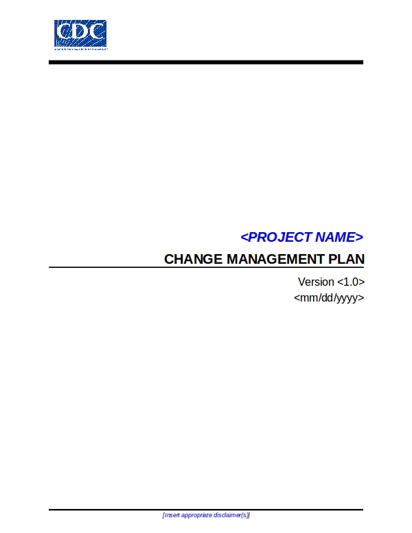 cdc up change management plan template