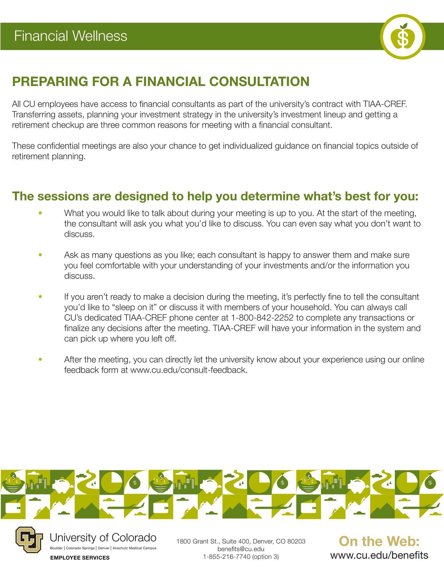 financial consultation prep guide cu financial wellness