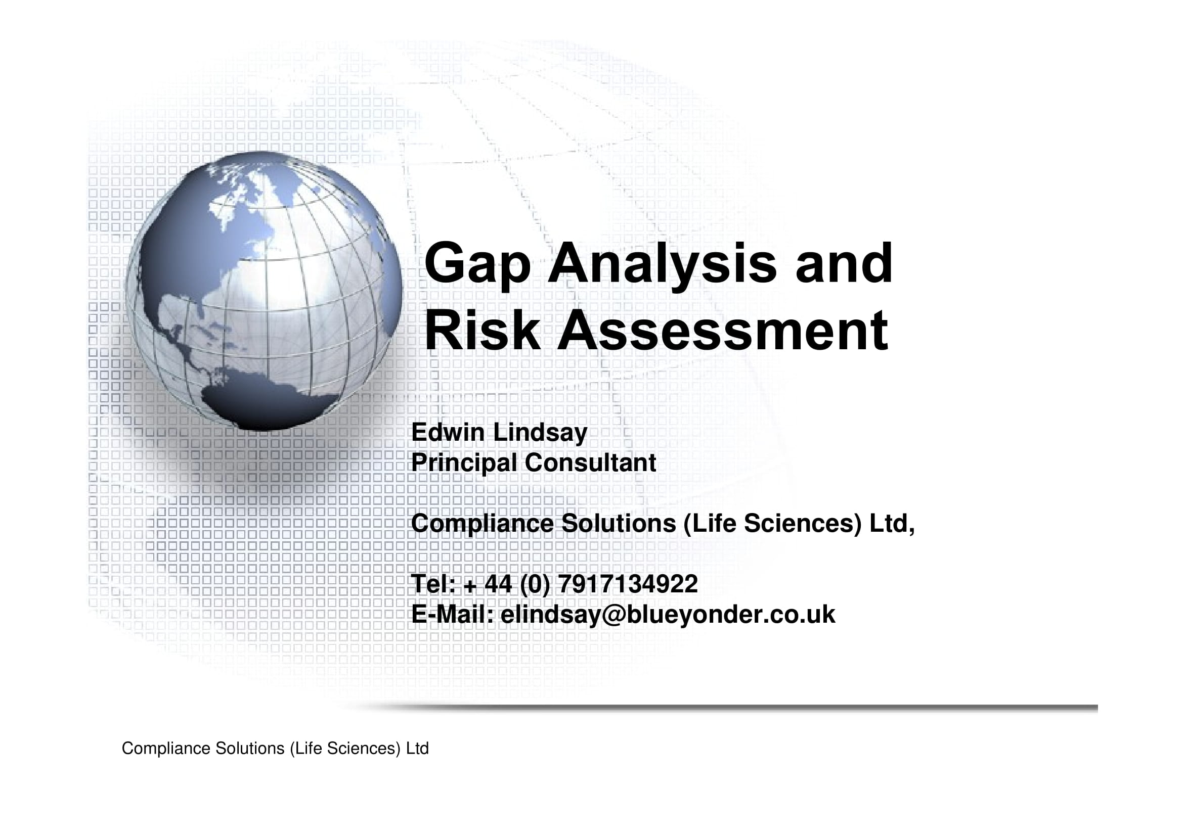 gap analysis and risk assessment