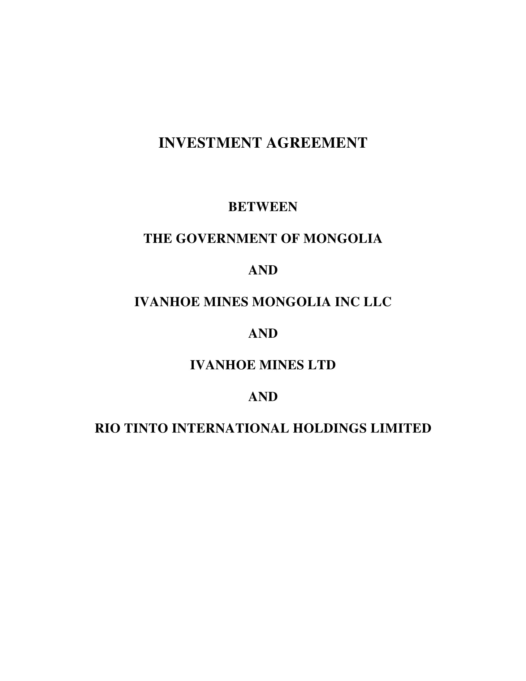 mongolia investment agreement