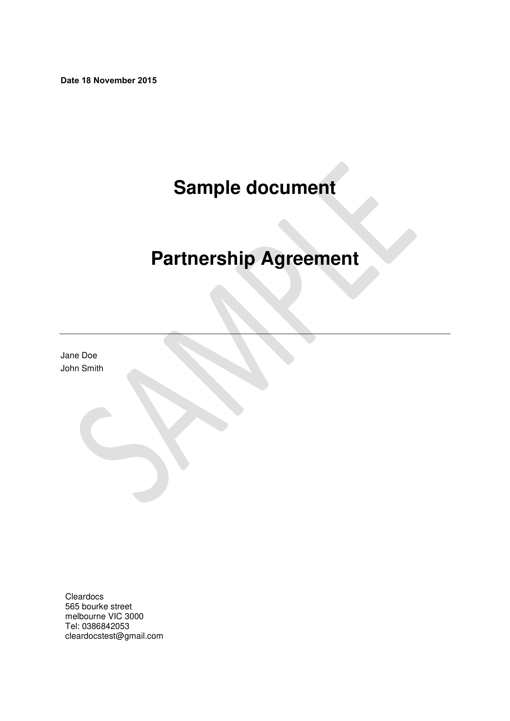 sample partnership agreement 50 50