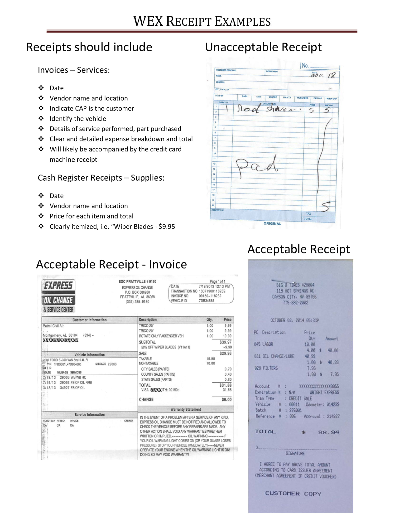 wex receipt examples