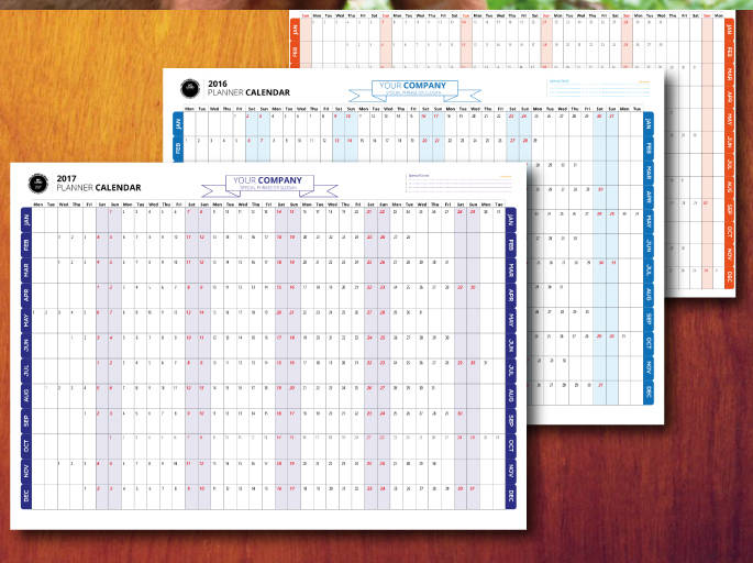 2016-2017-2019 Planner Calendar Example