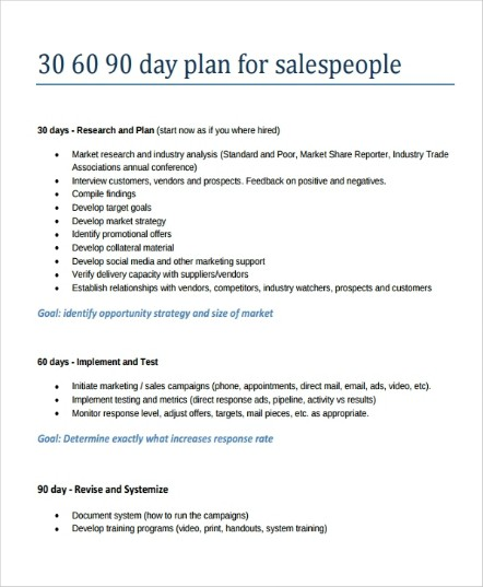 30 60 90 day sales plan for salespeople