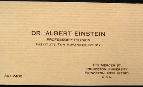 5. Albert Einstein's Business Card