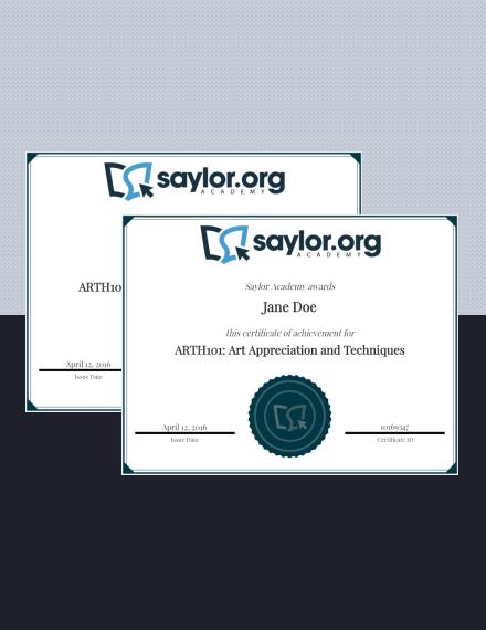 academy achievement award certificate