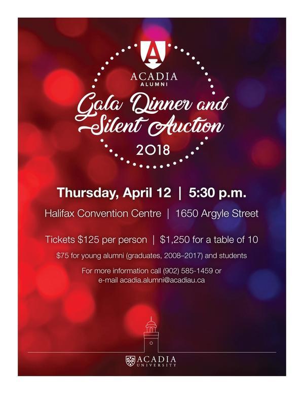 Acadia University Gala Dinner and Silent Auction Invitation