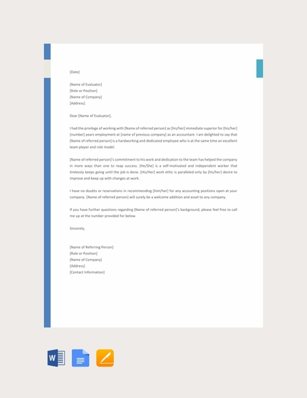 accountant reference letter template