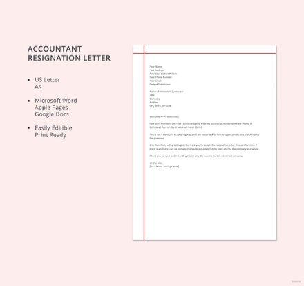 Accountant Resignation Letter