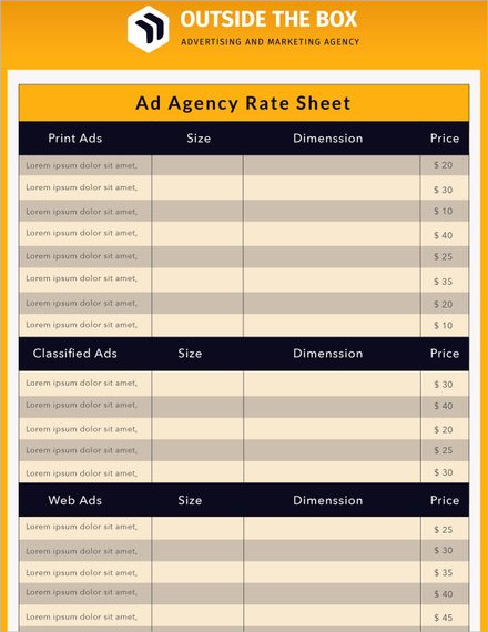 ad agency rate sheet template1