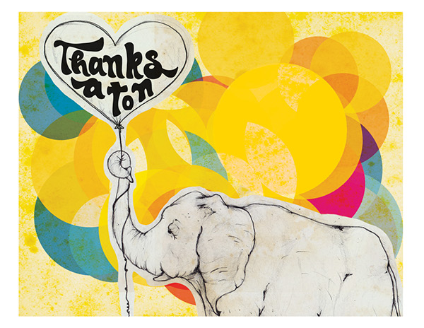adorable elephant thank you card