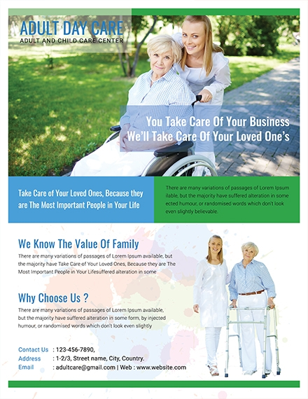 Adult Day Care Center Business Flyer