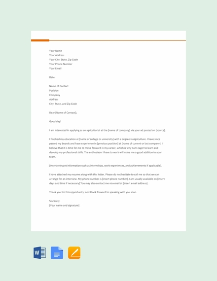 Agriculturist Cover Letter Template