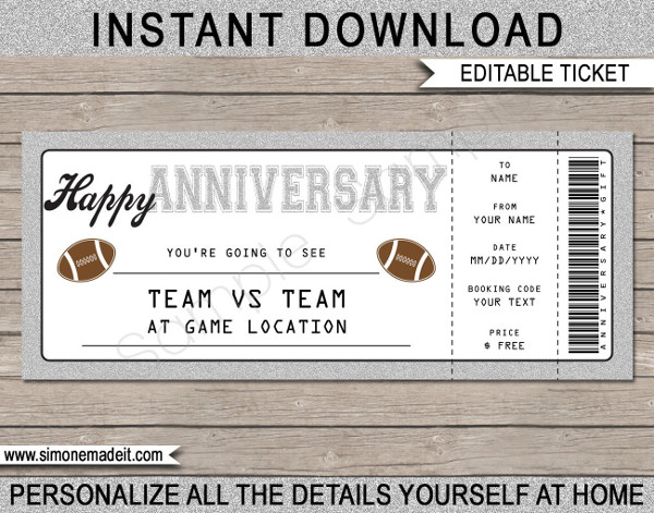 anniversary football ticket example